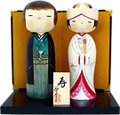 Japanese Kokeshi Wedding Doll Set, Bride and Groom, 7.6H