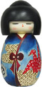 Kokeshi Doll, Lady Wearing Origami Crane Design, 6.75 H