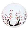 Paper Lantern, Cherry Blossom on White, 16 D