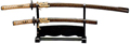 Samurai Sword w/ Wooden Stand - Gold