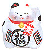 Cute Lucky Cat in White, w/ Left Hand Raised, 3-1/2