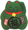 Cute Lucky Cat in Green, w/ Left Hand Raised, 3-1/2