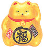 Cute Lucky Cat in Gold, w/ Left Hand Raised, 3-1/2