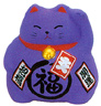 Cute Lucky Cat in Purple, w/ Left Hand Raised, 3-1/2