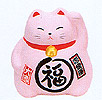 Cute Lucky Cat in Pink, w/ Left Hand Raised, 3-1/2