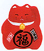 Cute Lucky Cat in Red, w/ Left Hand Raised, 3-1/2