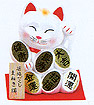 Cute Lucky Cat in White, w/ Left Hand Raised, 7