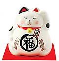 Cute Lucky Cat in White, w/ Left Hand Raised, 8-1/4