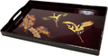 Japanese Rectangular Lacquer Tray with Handles - Gold Cranes, 19 L