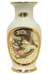 Chokin Vase in Dragon Theme, Ivory 6 H