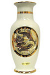 Dragon Theme, Ivory 8  Chokin Vase