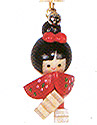 Wooden Lucky Charm, Doll with Red Bow