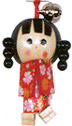Wooden Lucky Charm, Girl Doll with Two Braided Pony Tails