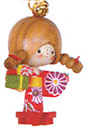 Wooden Lucky Charm, Girl Doll in Spring Time Kimono