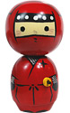 Red Ninja Kokeshi Doll, 5 H