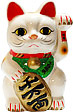 White Color, Maneki Neko Lucky Cat w/ Left Hand Raised, 7 H
