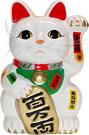 White Color, Maneki Neko Lucky Cat w/ Left Hand Raised, 10