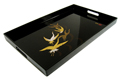 Japanese Black Lacquer Tray with Handles - Flying Cranes, 19 L