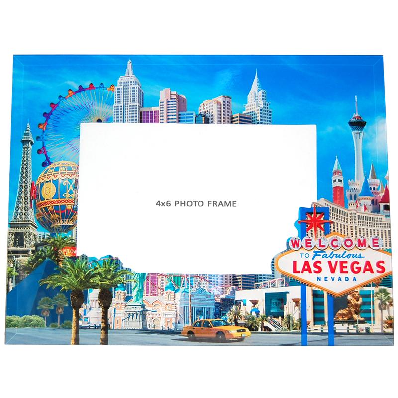 Souvenir Las Vegas Photo Frame in Glass, 6\
