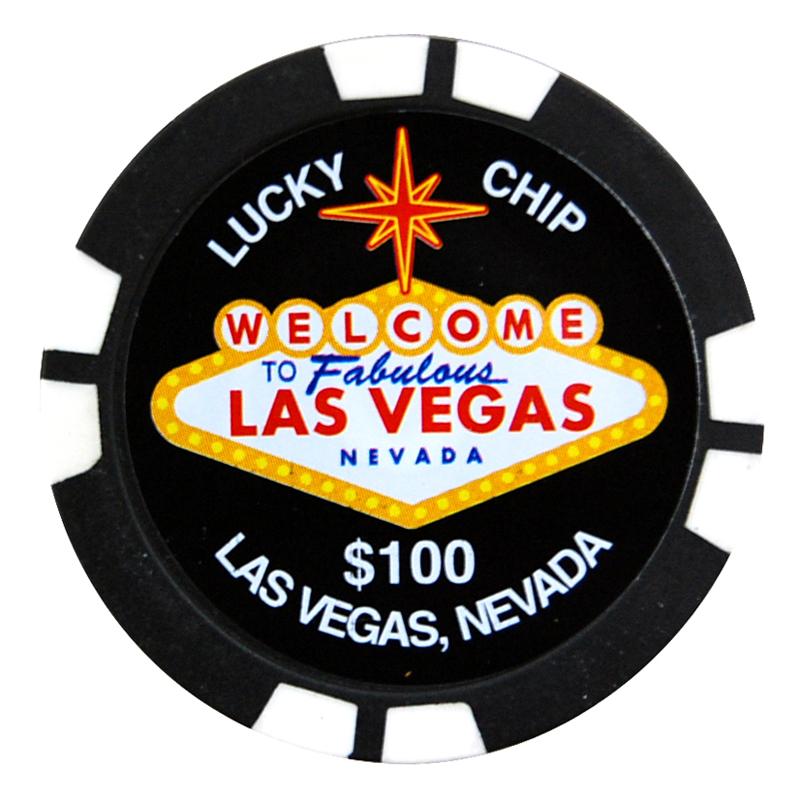 Las Vegas 100 Lucky Poker Chip Magnet Black