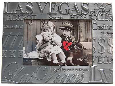 Las Vegas Souvenir Picture Frame Pewter