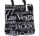 Las Vegas Souvenir Letter Canvas Tote Bag - Black, 14H