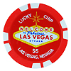 Las Vegas $5 Lucky Poker Chip Magnet, Red
