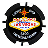 Las Vegas $100 Lucky Poker Chip Magnet, Black