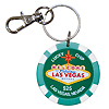 Las Vegas Key Chain, $25 Lucky Poker Chip Green