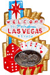 Las Vegas Casino Fridge Magnet with Pewter Emblem