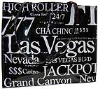 Las Vegas City B/W Letter Tote Bag, Large
