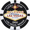 Las Vegas Tin Magnet in $100 Poker Chip, Black