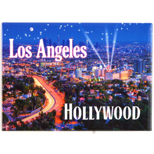 los angeles city lights hollywood postcard magnet
