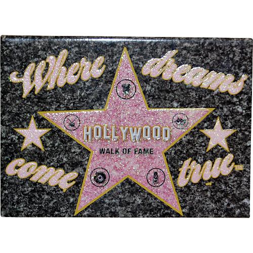 Hollywood Walk Of Fame Star Souvenir Glitter Magnet