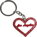 LA Souvenir Heart Shaped Keychain with Red Rhinestones