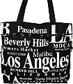 Los Angeles Canvas Tote Bag with Top Zipper, 14.5 H