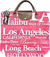 Los Angeles Themed Tote with Top Closure, Waterproof Canvas in Pink