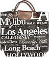 Los Angeles Themed Tote with Top Closure, Waterproof Black Canvas