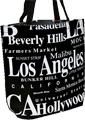 Los Angeles Souvenir Letter Canvas Tote Bag, 14.5H