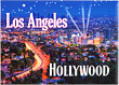 Los Angeles City Lights & Hollywood Postcard Magnet