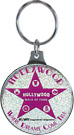 Hollywood Walk of Fame Pink Glitter Metal Keychain