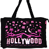 Hollywood Sign Tote Bag with Pink Stars - Black