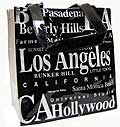 Los Angeles City PVC Tote Bag in B/W Letter, 8.5H
