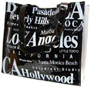Los Angeles City PVC Tote Bagin B/W Letter, 14 L