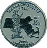 Massachusetts State Quarter Magnet - Rubber, 2.5 D