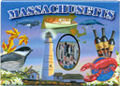 Massachusetts State Icons Souvenir Large Metal Magnet