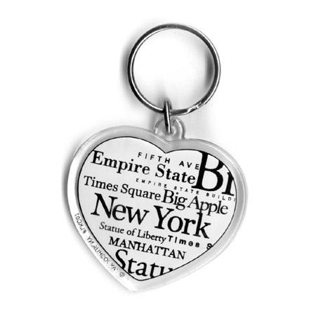 N Y City B W Heart Letter Souvenir Keychain