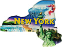New York Scenes State Map - Large Acrylic Magnet