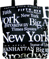 New York Letter Souvenir Canvas Tote Bag - Black, 14.5H