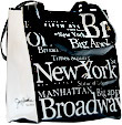 New York City B/W Letter Shopping Tote Bag, Small